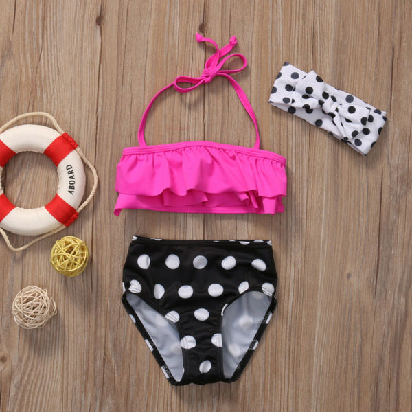 Hot Pink & Polka Dot Swimsuit - loopylousboutique