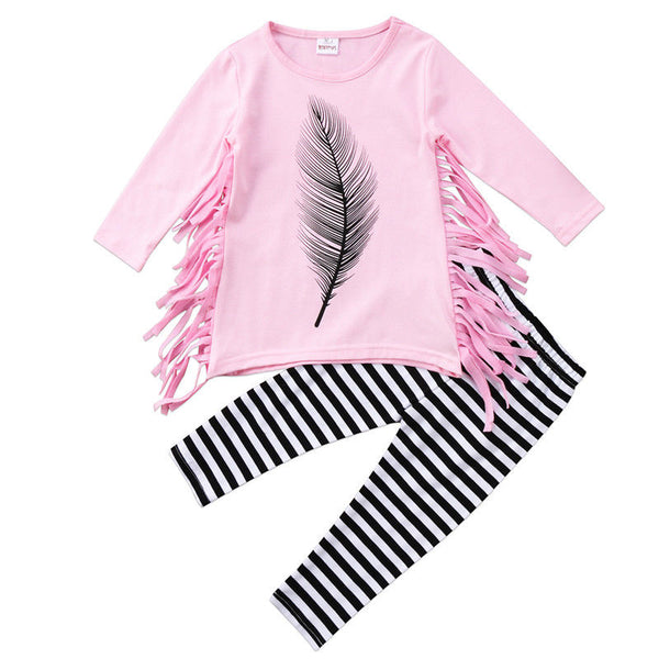 Feather Long Sleeve with Tassels and Matching Pants - loopylousboutique