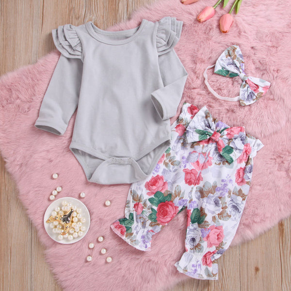 Gray Romper with Matching Floral Print Pants and Bow - loopylousboutique