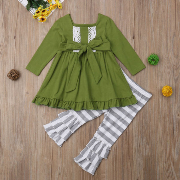 Green Ruffle Top with Striped Pants - loopylousboutique