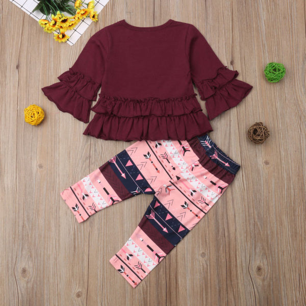 Maroon Long Sleeve with Ruffles and Matching Pants - loopylousboutique