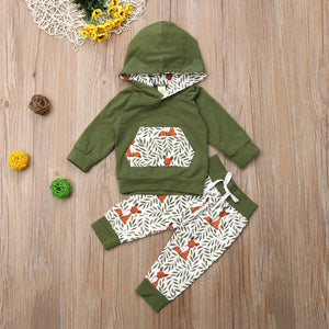 Green Forest Fox Infant Hoodie Outfit - loopylousboutique