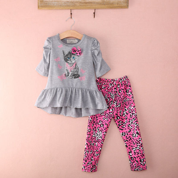 Pink Kitten Long Sleeve with Pink Leopard Print Pants - loopylousboutique