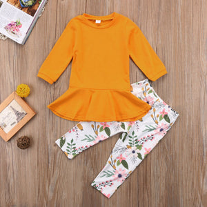 Yellow Long Sleeve with Floral Print Pants - loopylousboutique