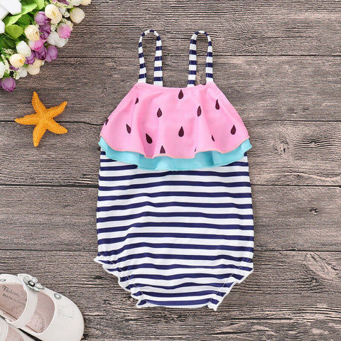 Watermelon & Stripes One Piece Swimsuit - loopylousboutique