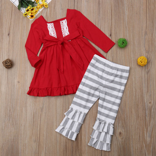 Red Ruffle Top with Striped Pants - loopylousboutique