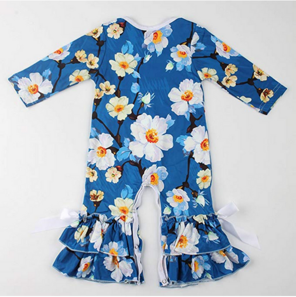 Bright Blue Floral Long Sleeve Romper - loopylousboutique