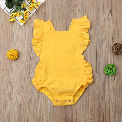 Yellow Ruffle Romper - loopylousboutique