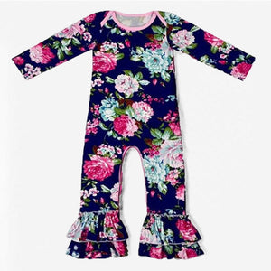 Navy Blue Floral Long Sleeve Ruffle Romper - loopylousboutique