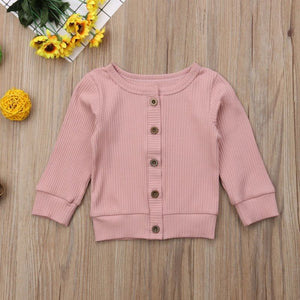 Pink Knitted Button-Up Sweater - loopylousboutique