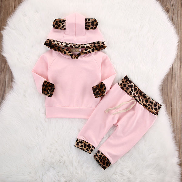 Pink Hoodie with Leopard Print Accents with Matching Pants - loopylousboutique
