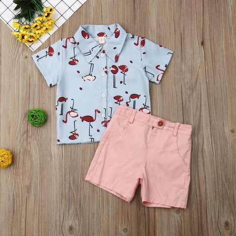 Light Blue Flamingo Shirt & Shorts Set - loopylousboutique