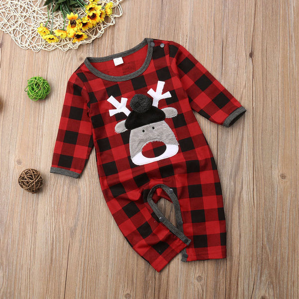 Red Buffalo Plaid Infant Deer Romper - loopylousboutique