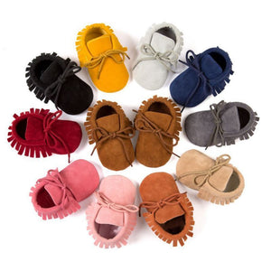 Infant Tassel Soft Sole Suede Moccasins - loopylousboutique