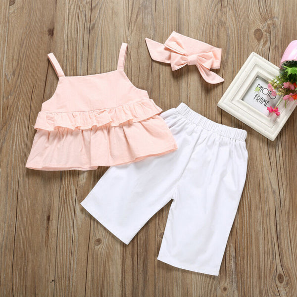 Pink Ruffle Top w/ White Button Pants - loopylousboutique
