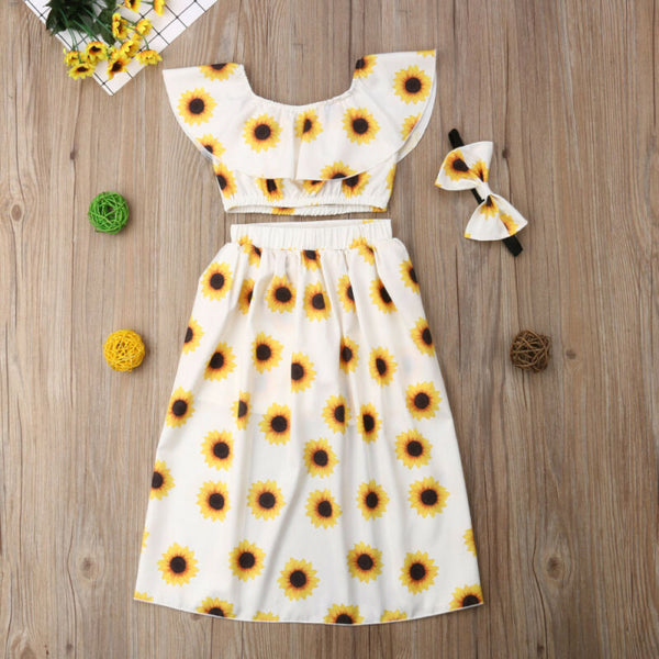 Sunflower Crop Top and Shorts Skirt Outfit - loopylousboutique