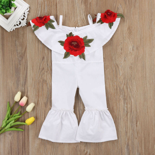 White Jumpsuit with Red Rose Accent - loopylousboutique