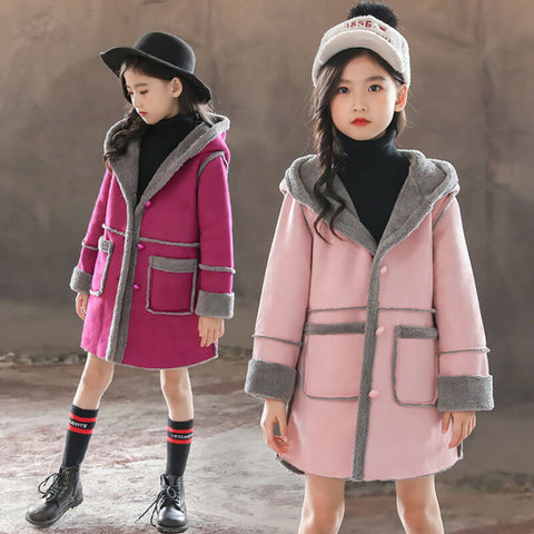 Girls Winter Hoodie Long Trench Thick Fleece Jacket