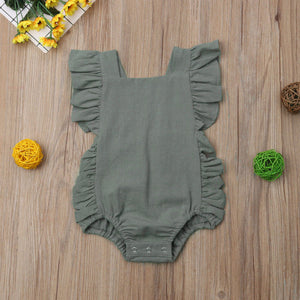 Grey Ruffle Romper - loopylousboutique