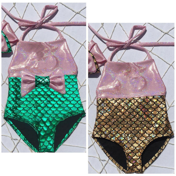 Mermaid Swimsuit with Matching Bow - loopylousboutique