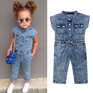 Denim Sleeves Button Up Romper - loopylousboutique