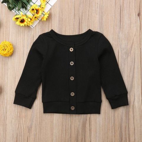 Black Knitted Button-Up Sweater - loopylousboutique