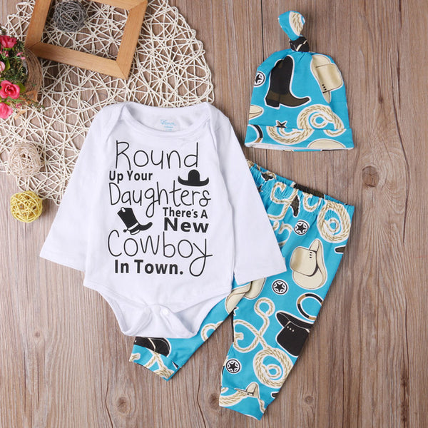 Cowboy Romper with Matching Pants and Hat - loopylousboutique