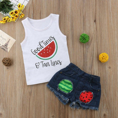 Good Times & Tans Lines Watermelon Set - loopylousboutique