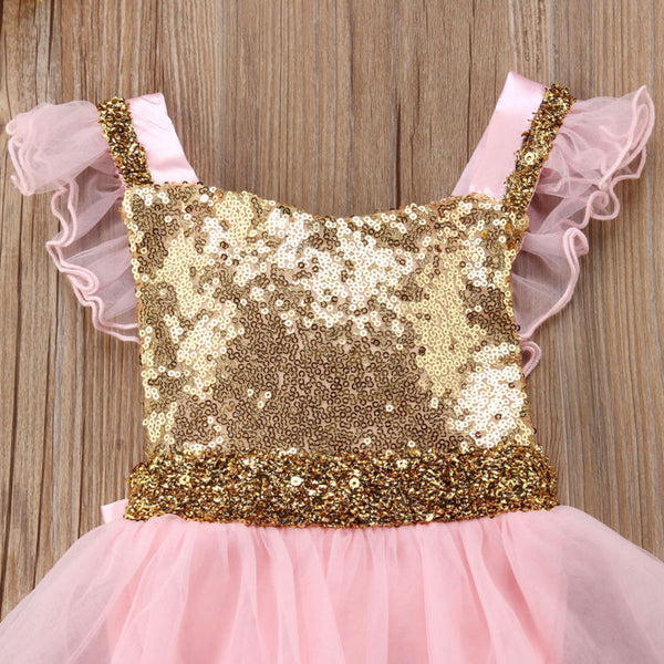 Pink Tutu Dress with Gold Sequins - loopylousboutique
