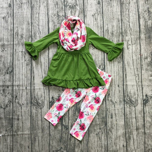 Green & Floral Matching Scarf Outfit - loopylousboutique