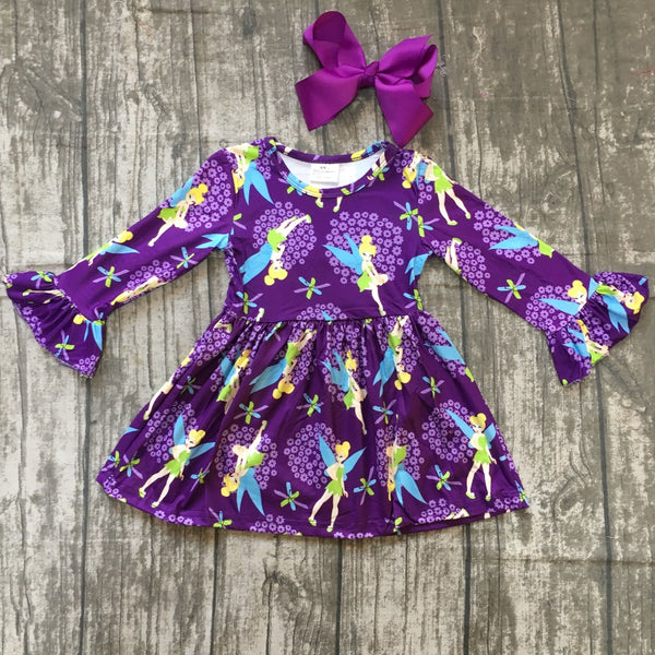 Purple Long Sleeve Tinkerbell Dress - loopylousboutique