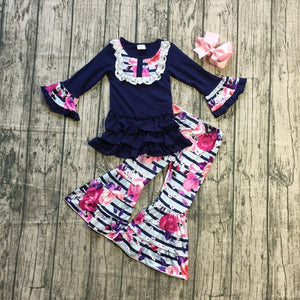 Navy Blue Floral Bell Bottom Outfit - loopylousboutique