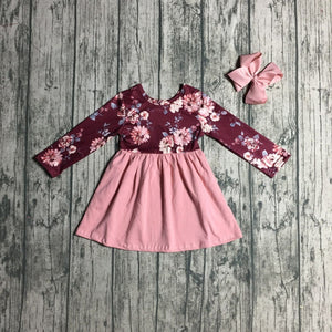 Burgundy & Pink Floral Long Sleeve Dress - loopylousboutique