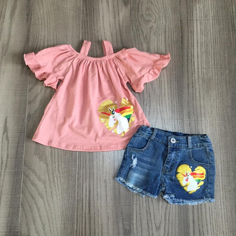Unicorn Off Shoulder Jean Shorts Set - loopylousboutique