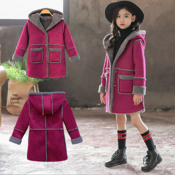 Girls Winter Hoodie Long Trench Thick Fleece Jacket - loopylousboutique