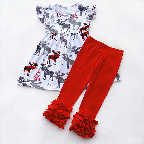 Buffalo Plaid Moose Leggings Set - loopylousboutique