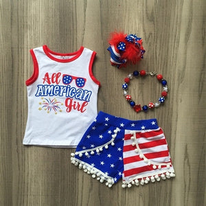 All American Girl Flag Pom Short Outfit - loopylousboutique