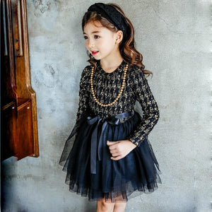 Navy & Taupe Houndstooth Long Sleeve Tutu Dress - loopylousboutique