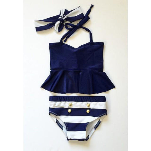 Navy Stripe Peplum Top Swimsuit - loopylousboutique