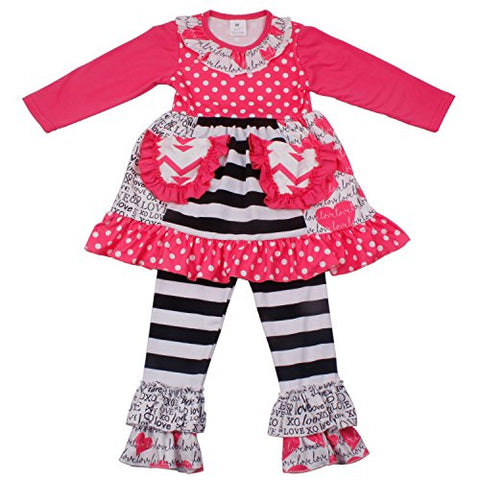 Hearts & Stripes Girls Boutique Outfit - loopylousboutique