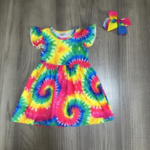 Bright Tye Dye Ruffle Short Sleeve Dress - loopylousboutique
