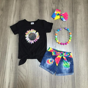 Flower Power Tie Dye Jean Shorts Set - loopylousboutique