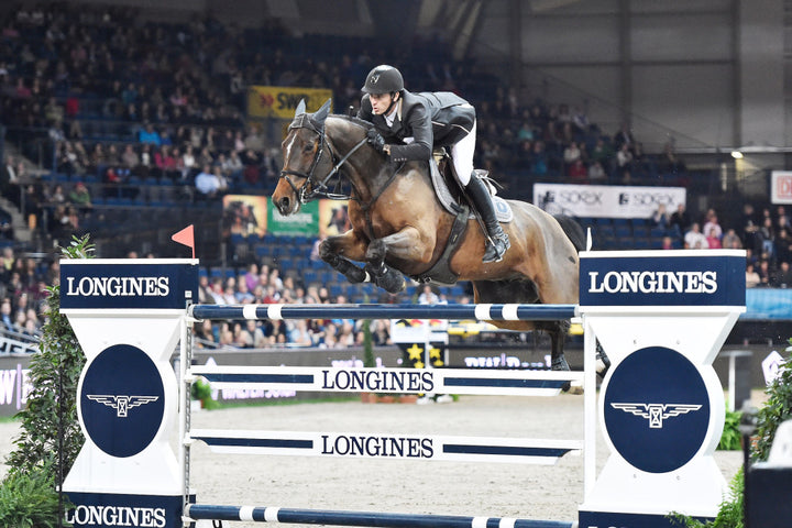 Longines FEI World Cupª Jumping,Stuttgart 2014 Steve Guerdat riding Nino des Buissonnets takes 3rd place at Stuttgart, Germany.  Photo: Karl-Heinz Freiler/FEI