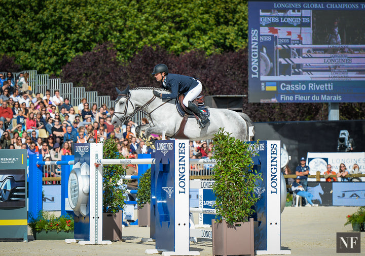 One of the Rio-bound Ukraine horses in question, Fine Fleur du Marais, competed by Cassio Rivetti on July 2nd, 2016 in Paris.
