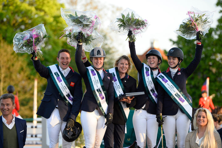 Furusiyya FEI Nations Cupª Jumping, Odense DEN The British team  L to R: Tim Page, Holly Gillott, Che d'Equipe Di Lampard, Harriet Nuttall and Jessie Drea. Photo: Annette Boe ¯stergaard/FEI