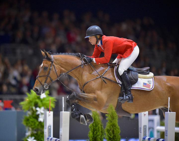 Defending champion: USA's Beezie Madden and Simon were best of the Americans in 12th in the opening speed leg of the Longines FEI World Cupª Jumping Final in Lyon (FRA) Credit: FEI/Arnd Bronkhorst