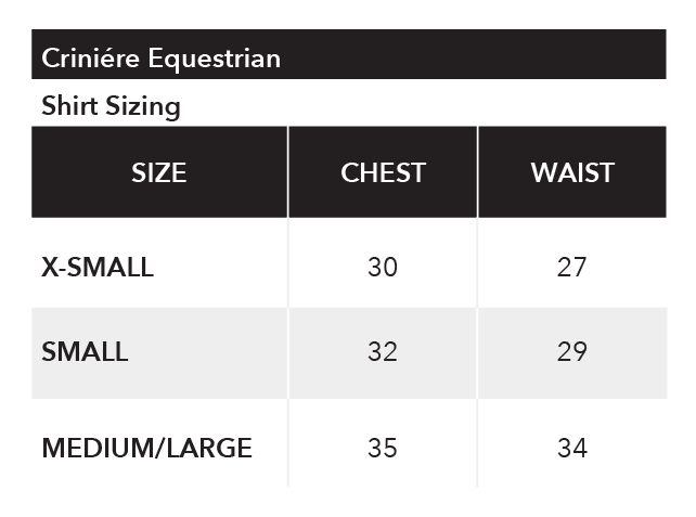 vendor sizing chart