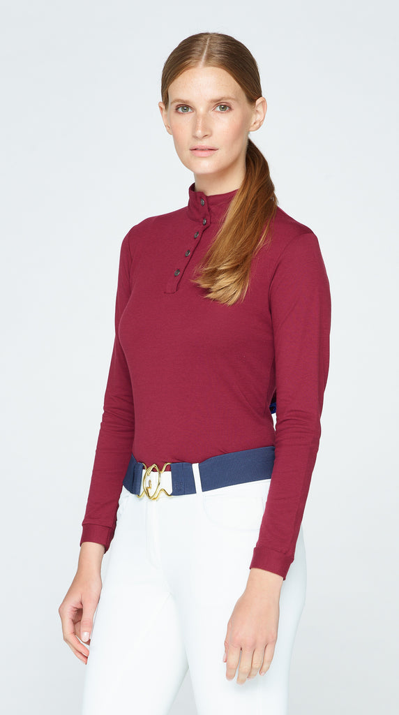Long Sleeve Polo - Bloodstone