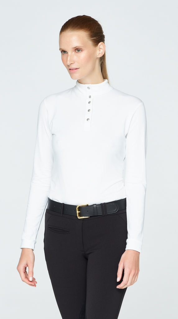 Long Sleeve Polo - White 2