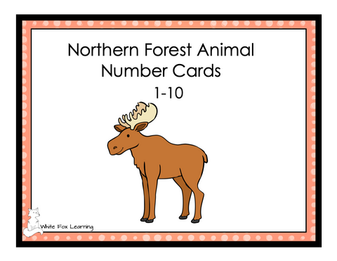 Northern Forest Animal Number Cards - 1-10 - Digital Product